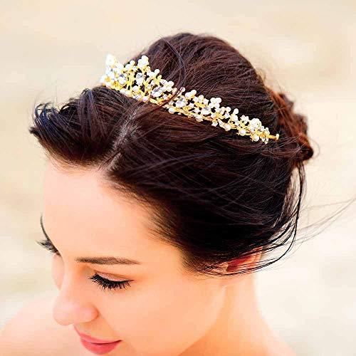 jovono Hochzeit Kronen und Tiaras für Brautschmuck Diadem gold CROWN mit weißem Strass für Frauen (Blau Gold Tiara)