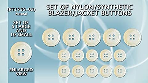 Lot de 5 grands et 10 petits boutons de veste en nylon/synthétique Blazer/(imitation imitation couleur naturelle Mother of Pearl) rt1735–02 (Ø20.5 mm & 15 mm de diamètre)