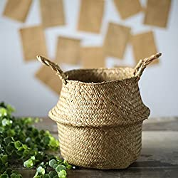SODIAL Seagrass cesta de cesteria de mimbre plegable colgante maceta de flores maceta sucia de lavanderia cesto de almacenamiento cesta decoracion para el hogar talla L