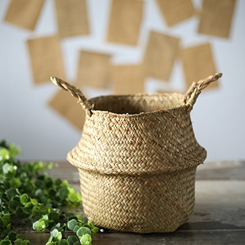 SODIAL Seagrass cesta de cesteria de mimbre plegable colgante maceta de flores...