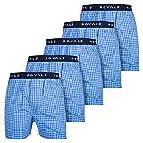 ROYALZ 5er Pack Boxershorts American Style für Herren Männer Unterhosen Kariert Blau klassisch 5 Set Jungen Unterwäsche weit, Größe:XXL, Farbe:Himmel Blau Kariert