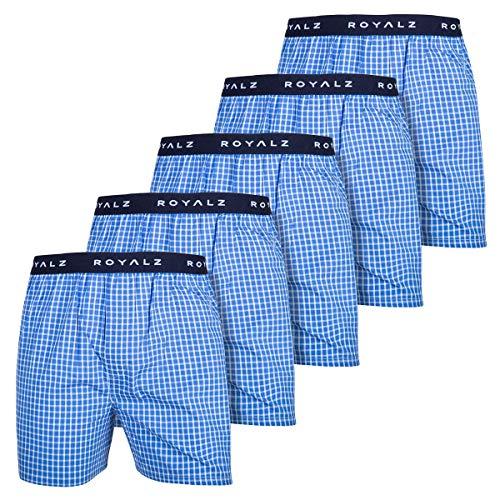 ROYALZ 5er Pack Boxershorts American Style für Herren Männer Unterhosen Kariert Blau klassisch 5 Set Jungen Unterwäsche weit, Größe:XL, Farbe:Himmel Blau Kariert