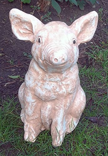 LittleGems Grande Pig Ornement Petit cochon Statue Sculpture SID,Pinky &Perky Jardin et maison de Noël Cadeau de Noël Cadeau de fête 34 Pink (Pinky)