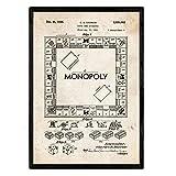 Nacnic Poster Monopoli Brevetto. Foglio con Il Vecchio Brevetto di Disegno in Formato A3 e Vintage Sfondo