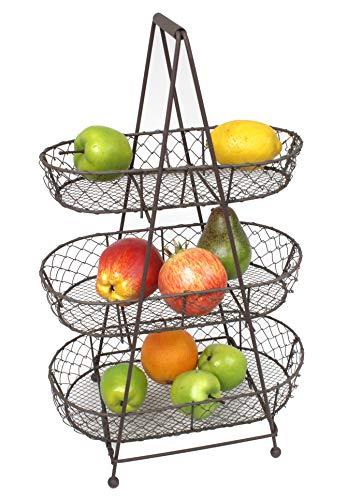 Etagere aus Metall mit 3 Körben für Obst & Gemüse - Shabby Landhaus Vintage -