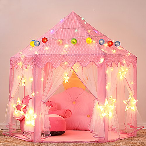 140x135cm Extra Large Children Kids Fairy Princess Castle Tents Girls Pink Play Castle Hexagon Playhouse for Indoor/Outdoor Use Foldable with Carry Case