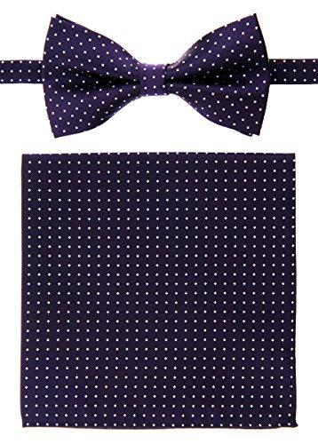 Retreez da uomo a puntini tessuto gilet con cravatta, papillon, Pocket Square Gift Box set Purple with White Pin Dots