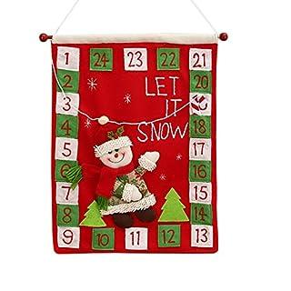 Artistic9 Wall Calendar, Hanging Calendar, Countdown Calendar, Tapestry, DIY Calendar, Christmas Decoration, Fabric, red, Size: 40x50cm