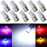 Grandview 10pcs Weiß T10 501 194 168 2825 Lampen mit 10-7014-SMD 350 Lumen DC9-16V 6500K