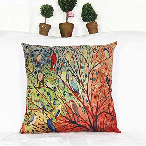 On sale promotions tree birds cotton sofa pillowcase for Sofa cushion covers ireland
