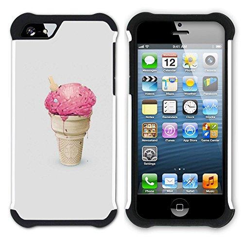 Graphic4You Eis Eistüte Eis am Stiel Hart + Weiche Kratzfeste Hülle Case Schale Tasche Schutzhülle für Apple iPhone SE / 5 / 5S Design #2