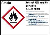 LEMAX® GHS-Etik.Ethanol 96% vergällt Sorte 641,gem.GefStoffV/GHS/CLP,148x105mm,4/Bogen