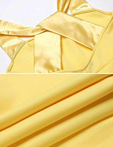 Meaneor Damen Knielang Bleistiftkleid Ärmellos Etui Kleid Figurbetontes Trägerkleid Elegant Rükenfreies Abendkleid Business Kleid Gelb