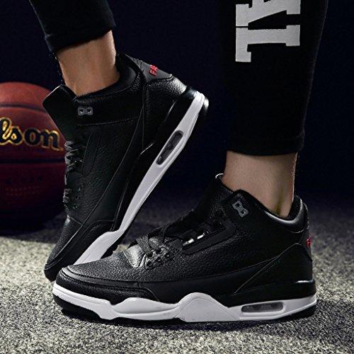 Scarpe Sportive Da Uomo Autunno Inverno High Top Antiscivolo Ammortizzazione Scarpe Da Basket 38-44 Black