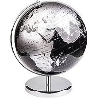 Exerz 30 CM Globo terráqueo - en Inglés - Decoración de escritorio educativa/geográfica/moderna - Con una base de metal - Negro Metálico