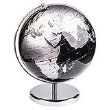 Exerz Metallisch Globus (Durchmesser: 30 cm) - Pädagogisch/Geografisch / Dekoration - Mit einem Metallfuß - in Englischer Sprache (30CM Metallisches Schwarz)