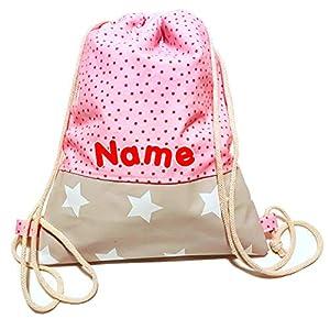 Turnbeutel - Rosa mit Punkten - Rucksack mit Wunschnamen   3 Größen verfügbar   Handarbeit   Namen Kinder Sportbeutel Kindergarten Schule Kita Mädchen