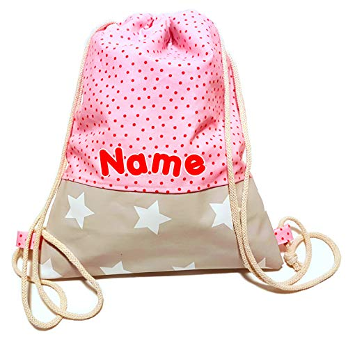 la.nunu Turnbeutel mit Wunschnamen - Rosa mit Punkten - Klein: H 30cm, B 27cm - Handarbeit - Rucksack Namen Kinder Kindergarten Schule Kita Mädchen