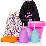 Flavirta coupes menstruelles 3x (1x petite et 2x grandes), coupe pliable gratuite, Trouvez la solution idéale, Meilleure alternative aux serviettes hygiéniques et tampons en tissu