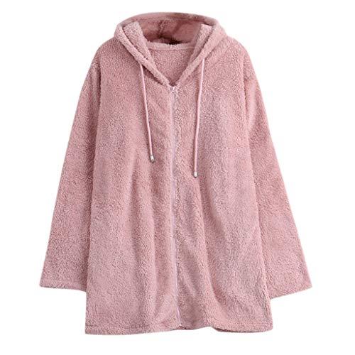 Amcool Damen Herbst Winter Bequem Lässig Mode Jacke, Frauen Mode Hoodie Pullover Teddy-Fleece Mantel Flauschige Schwanz Tops Mit Kapuze Lose Mantel