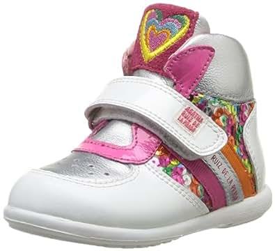 Agatha Ruiz de la Prada 142917, Chaussures premiers pas bébé fille - Blanc (A Blanco Y Plata Charol), 21 EU (4.5 UK)