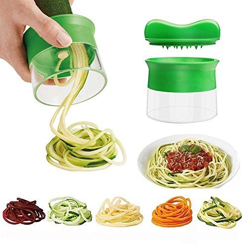 Spiralschneider Handheld-Spiralizer, Gemüse ideal für Gemüse-Obst Nudeln Spaghetti Maker, Grün Zucchini-spaghetti-maker Mandoline