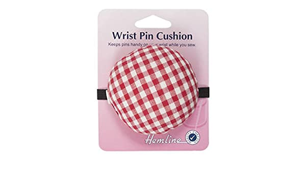 1 Pcs Small Fabric Coated Fully Padded Wrist Pin Cushion for Sewing with Button for Needle Storage by HONGTIAN
