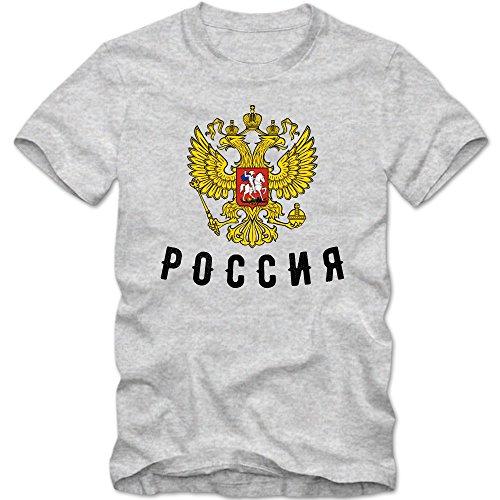 Russland T-Shirt Cyrillic Herren Fußball WM 2018 Eishockey WM Putin Russian Federation XS-5XL, Farbe:Graumeliert (Grey Melange);Größe:M
