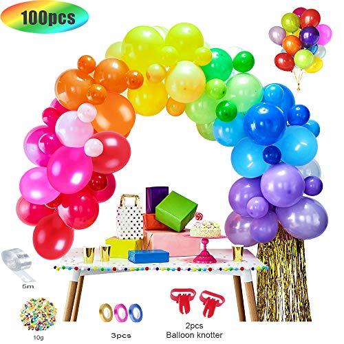 Mmtx 100 pcs palloncini compleanno 1 anno colorati, palloncini biodegradabili bomboletta elio per addobbi per feste di compleanno, nozze (strumento per legare, catena di palloncini,coriandoli, nastri)