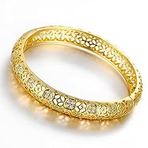 Dilanca - Bracciale rigido da donna placcato oro rosa 18 ct, con motivo intarsiato, oro giallo placcato, colore: Yellow Gold, cod. HBB0001SY