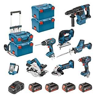 BOSCH Kit PSL8P4C + Caddy (GST 18 V-LI B + GKS 18V-57G + GDX 18V-200C + GBH 18 V-26F + GSA 18 V-LI C + GLI VariLED +.)