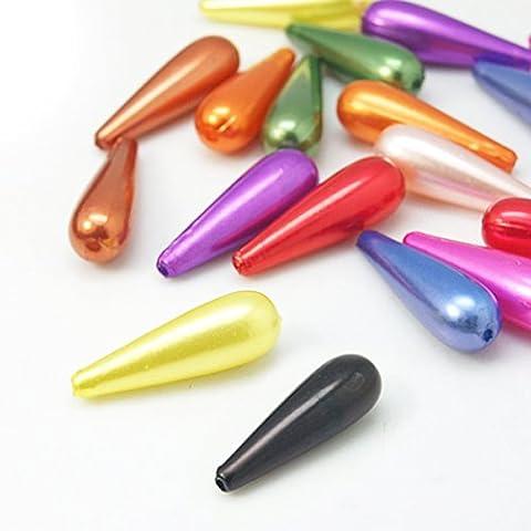 Pacco 10 x Misto Acrilico 10 x 30mm Briolette Liscio Perline - (HA25815) - Charming Beads