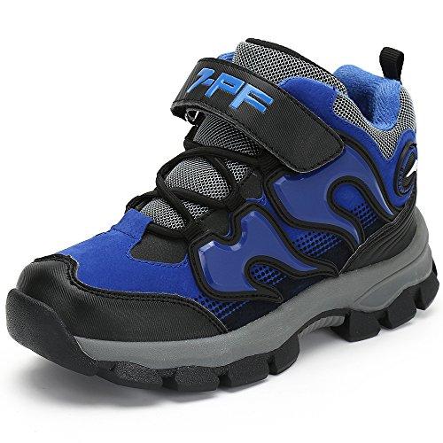 Jungen Mädchen Trekking Wanderschuhe Kinder Rutschfest Schnee Stiefel Warm Gefüttert Winter Schuhe Outdoor Wasserdicht Bergstiefel,Blau 35