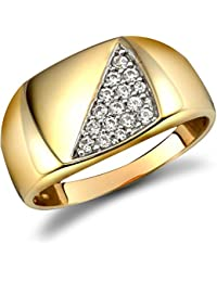 Jewelco London Men's Solid 9ct Yellow Gold White Round Brilliant Cubic Zirconia Pave Square Cushion Signet Ring
