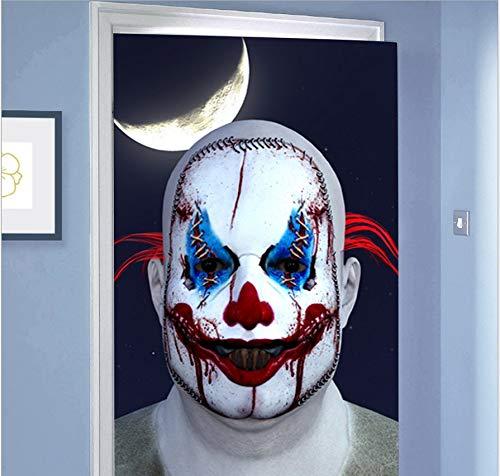 DACDAB Türaufkleber 3D Halloween Scary Clown Gesicht Tür Wandbilder Tapete Abnehmbare Selbstklebende Wandaufkleber Dekoration 77X200 cm