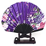 Sellify Blooming Flower Pattern Folding Hand Fan w Holder Green Pink Purple