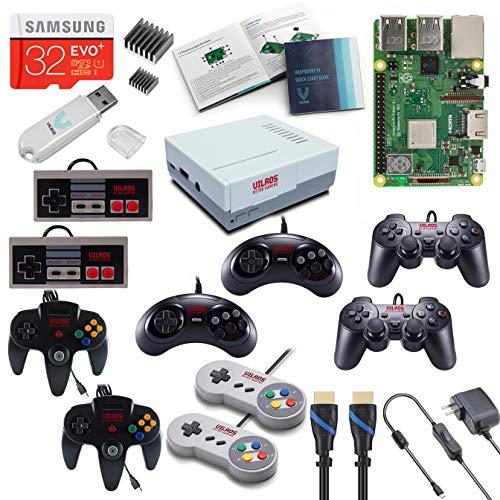 V-Kits Raspberry Pi 3 Modell B+ (B Plus) Retro Arcade Gaming Kit mit Multi Retro Gaming Controller Set - Enthält: je 2 NES, SNES, N64, PS2 und GENASIS Controller (Super Nintendo Controller 64)