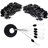 VIPMOON Large Fishing Rubber Bobber Beads Stopper, 6 en 1 paradas de lavabo de flotador, negro Oval Float Stop disponible-100 piezas