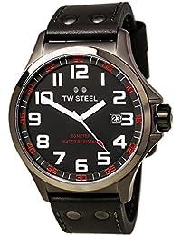 TW Steel Herren-Armbanduhr XL Pilot Analog Quarz Leder TW-421
