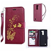 LG K7 Case / LG K8 Case + Free Tempered Glass Screen Protector, KKEIKO® LG K7 / K8 Wallet Case, Premium PU Leather Flip Cover with Card Slots, Cash Holder, Wrist Strap and Kickstand, Slim Fit Book Style Holster Case for LG K7 / K8 (Butterfly #5)