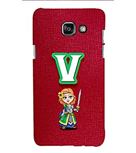 YuBingo Designer Printed Plastic Mobile Back Case Cover Panel for Samsung Galaxy A5 (6) 2016 ( Vibrant Letter V (Girlie Girly Comic Knight Printed on Plastic) )