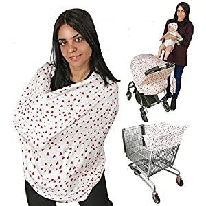 Nursing Breastfeeding Scarf Protection, Face Shield, Car Seat Cover, Stroller Canopy, Shopping Cart, Hi-Chair. Soft Fabric (red Hearts)