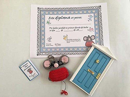 Ratoncito Pérez guardadientes con puerta mágica, Diploma de su primer diente caído y colgante de regalo para guardar el diente.