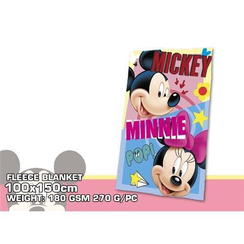 Disney Micky Maus & Minnie Maus WD19052 Fleece Decke, Polardecke, Kinderbettausstattung, 150 Zentimeter, Mehrfarbig