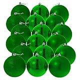 Hiskøl Christbaumkugeln grün, glänzend matt glitzernd, Ø 6 cm, 18er Pack
