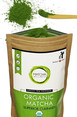 Matcha Green Tea Powder - Superior Culinary -100g USDA Organic from Japan | Natural Energy & Focus Booster, Packed with Antioxidants. Matcha Tea for Mixing in Lattes, Smoothies & Baking by Eco Heed