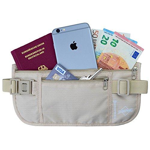 Marsupio a cintura con tecnologia di identificazione radio (RFID) - Un portafoglio segreto per le vacanze per uomo e donna - Un accessorio leggero - di Globeproof (beige)