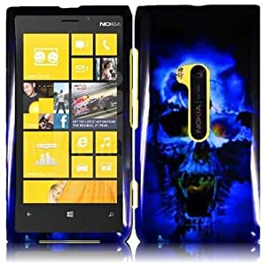 HR Wireless Nokia Lumia 920 Design Protective Cover - Retail Packaging - Blue Skull