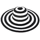 AiSi Damen Klappbarer Sonnenhut Sommer Strohhut Faltbarer Strandhut Strand Sommerhut Damenhut Breite Krempe Design Streifen Muster Schwarz