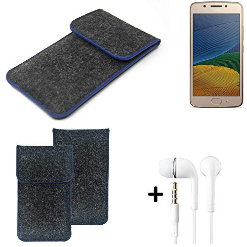 K-S-Trade® Filz Schutz Hülle Für -Lenovo Moto G5 Single-SIM- Schutzhülle Filztasche Pouch Tasche Handyhülle Filzhülle Dunkelgrau, Blauer Rand Rand + Kopfhörer